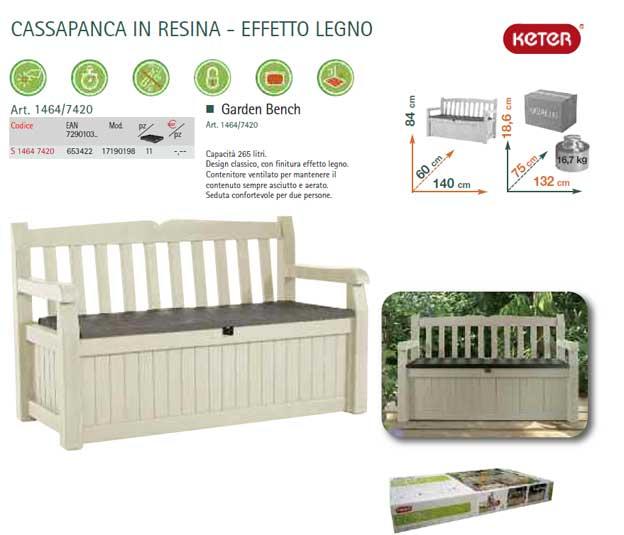 Cassapanca in resina per giardini e terrazze for Cassapanca per giardino